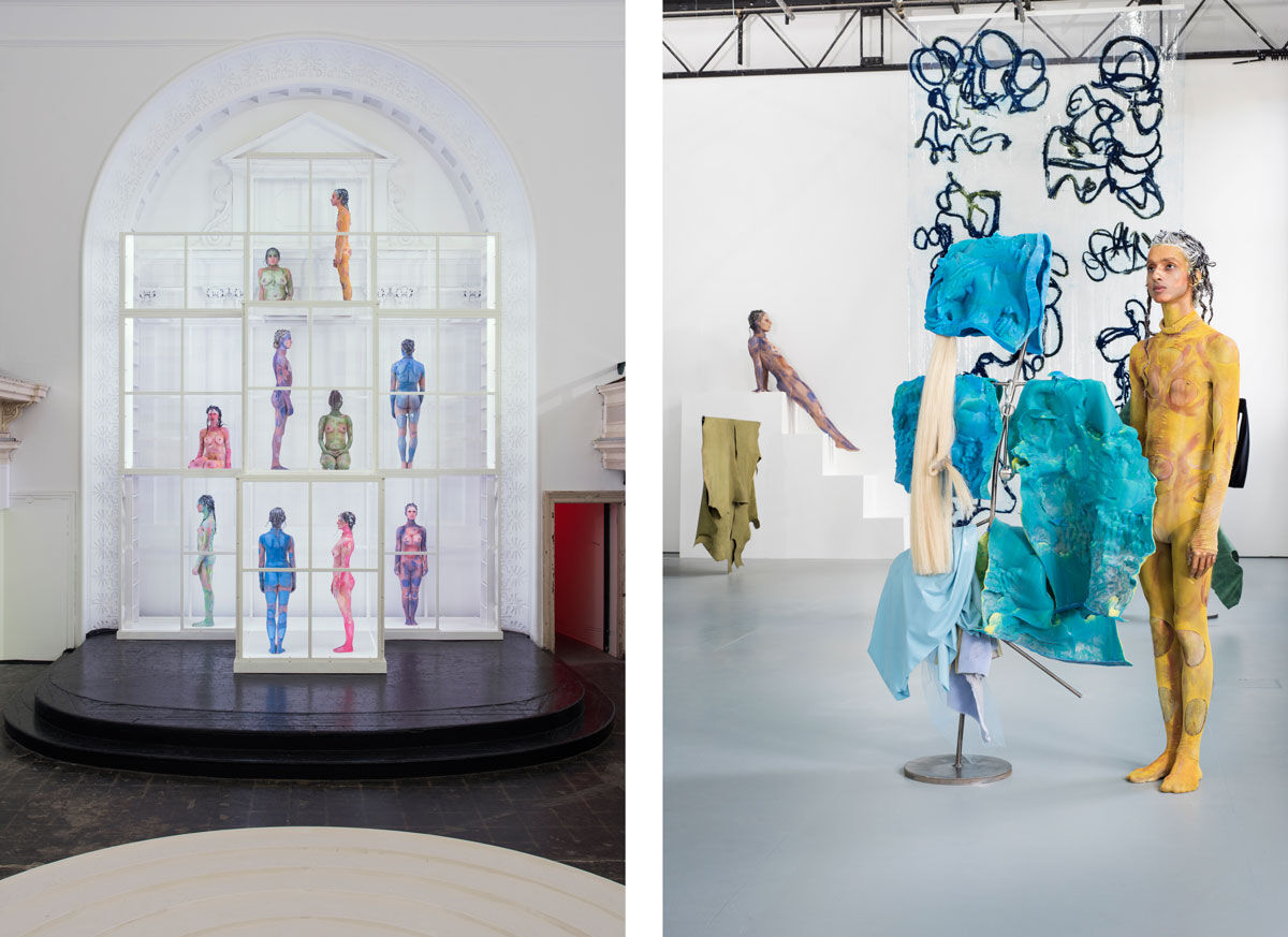 Left:Donna Huanca,MELANOCYTES/ETHERIC LAYER, 2016, performance view. Commissioned by Zabludowicz Collection. Courtesy of the artist and Peres Projects. Photo by Thierry Bal; Right:Donna Huanca,SCAR CYMBALS, 2016, performance view. Commissioned by Zabludowicz Collection. Courtesy of the artist and Peres Projects. Photo by Thierry Bal.
