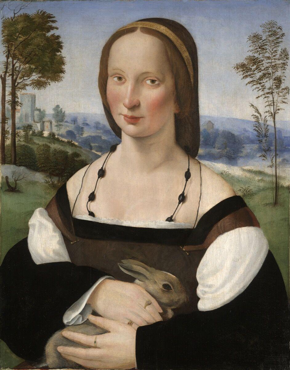 Ridolfo Ghirlandaio, Portrait of a Lady with a Rabbit, ca. 1508. Image via the Yale University Art Gallery.