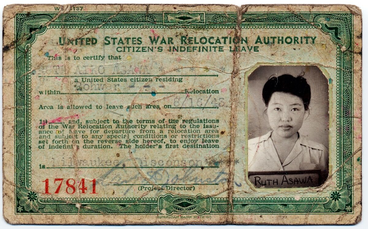 Ruth Asawa's War Relocation Authority identification card, 1943. Courtesy of National Portrait Gallery, Smithsonian Institution.