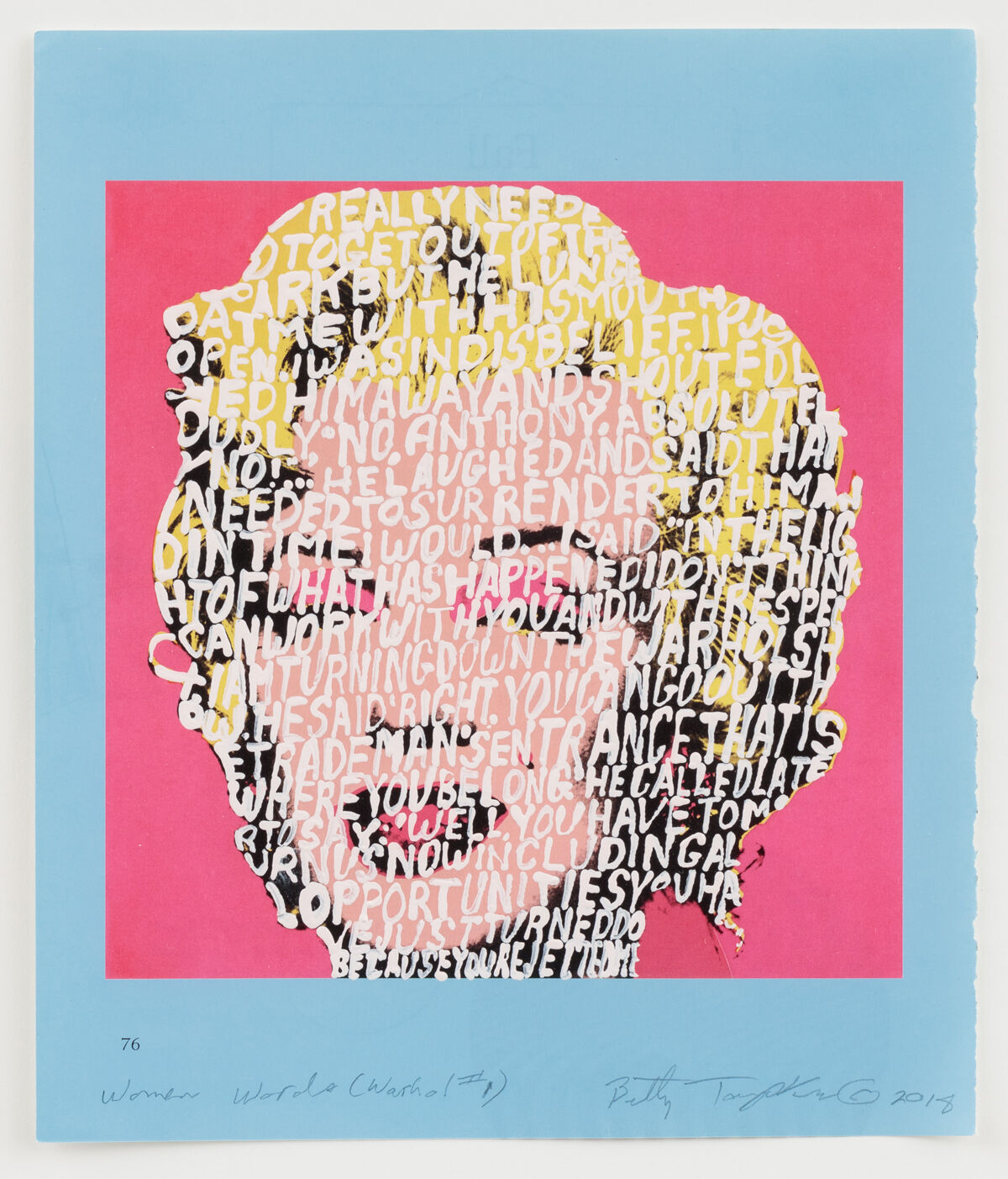Betty Tompkins, Women Words (Warhol #1), 2018. Courtesy of Betty Tompkins and P.P.O.W, New York.