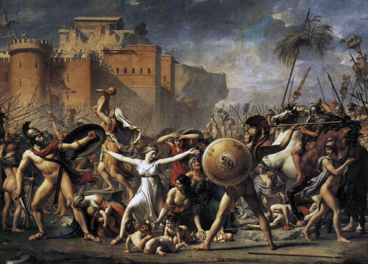 Jacques-Louis David, The Intervention of the Sabine Woman, 1799. Image via Wikimedia Commons.