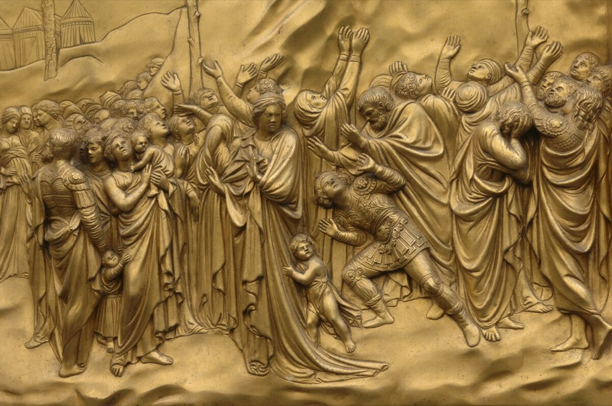 Bronze doors with relief sculptures by Lorenzo Ghiberti, Florence Baptistery, Piazza del Duomo. Photo by Eye Ubiquitous/Universal Images Group. Image via Getty Images.