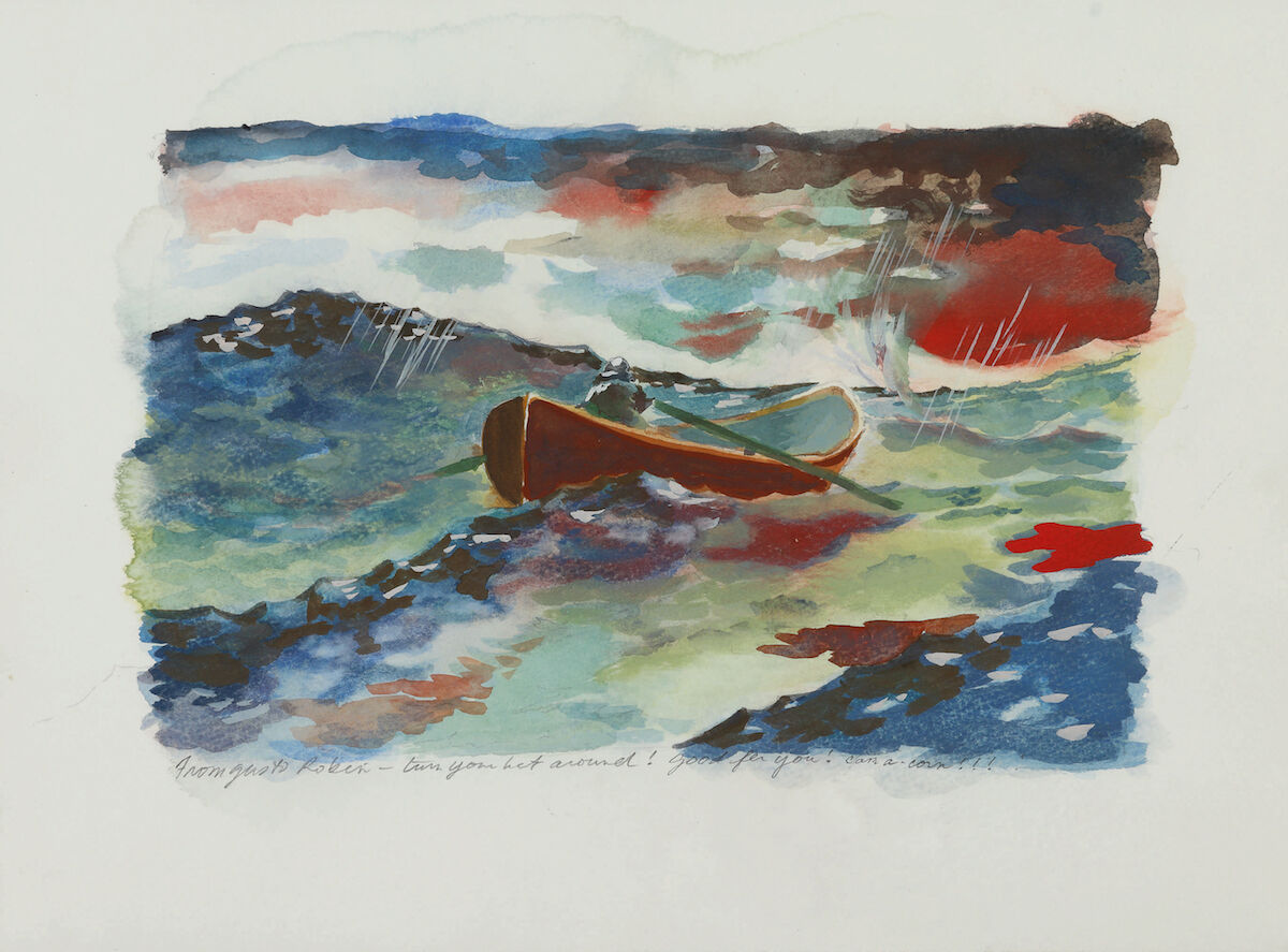 """Original watercolor painting by Gus Van Sant from Good Will Hunting, inscribed to Robin Williams: """"From Gus to Robin—turn your boat around! Good for you! Can a-corn!!!"""" Est. $1,000–1,500, sold for $90,000. Courtesy Sotheby's"""