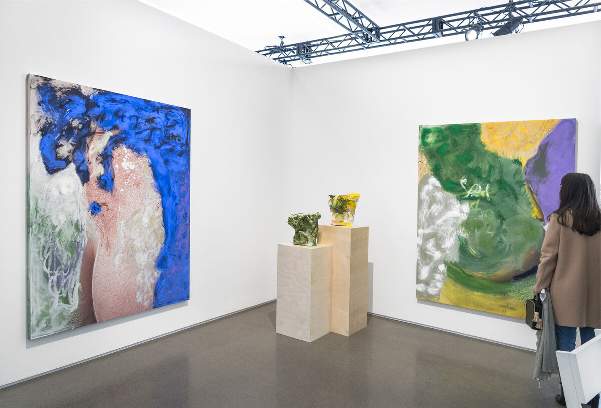 Installation view of works by Donna Huanca at Peres Projects's booth at Independent, 2016. Photo by Adam Reich for Artsy.