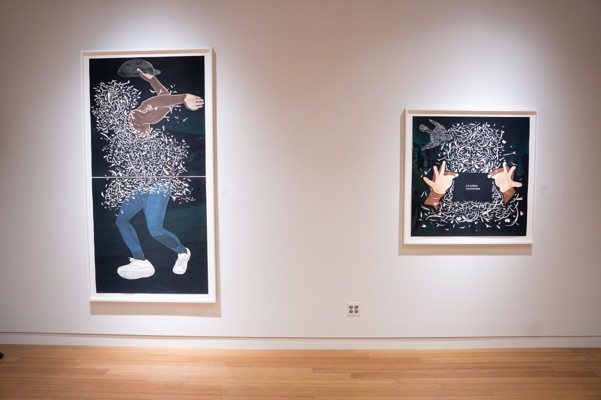 "Installation view of William Villalongo, Flex, 2017, and William Villalongo, Free, Black and All American No. 3, 2017, in ""Q-Tip: The Collection,"" at Bonhams, 2019. Courtesy of Bonhams."