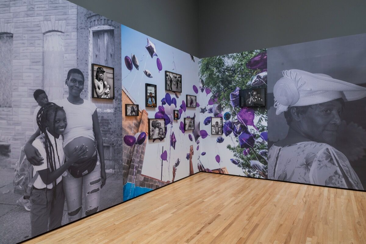 """Installation view of """"SHAN Wallace: 410"""" at The Baltimore Museum of Art, March 2020. Photo by Mitro Hood. Courtesy of The Baltimore Museum of Art."""