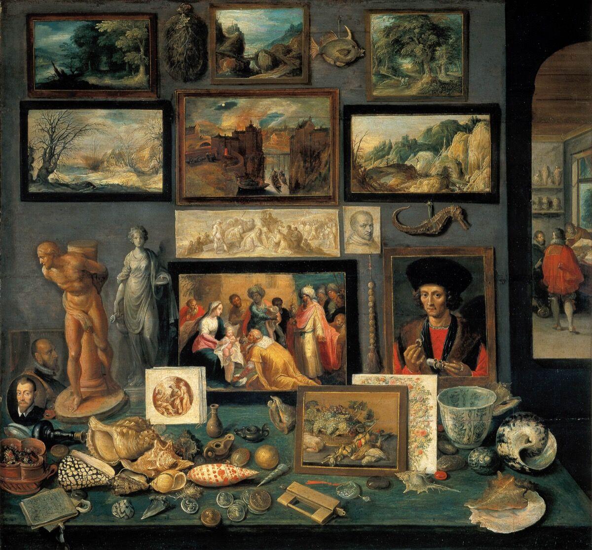 Frans Francken le Jeune, Chambre d'art et de curiosités, 1636. Image via Wikimedia Commons.