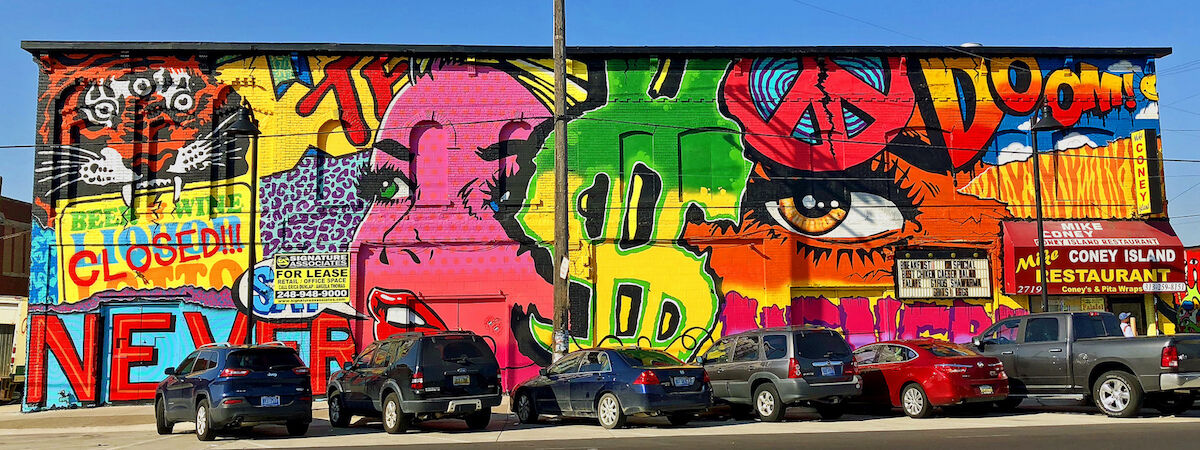 A mural by Daniel Bombardier, also known as Denial, at Eastern Market in Detroit. Photo by Chris Christian, via Flickr.
