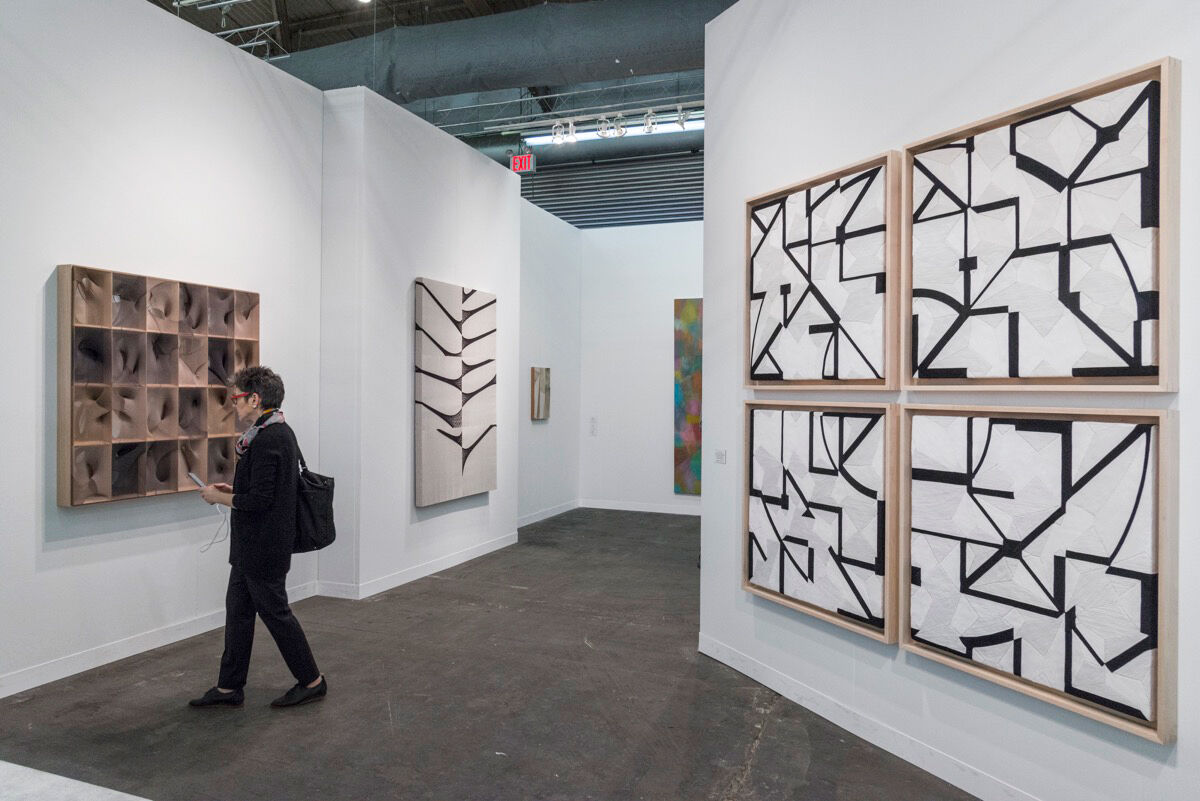 Installation view of PROYECTOSMONCLOVA and Timothy Taylor's booth at The Armory Show, 2017. Photo by Adam Reich for Artsy.
