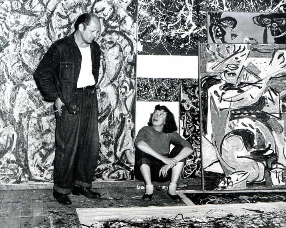 Jackson Pollock and Lee Krasner in Pollock's studio, East Hampton, 1949. Photo by Lawrence Larkin. Courtesy of the Pollock-Krasner House and Study Center, East Hampton, NY.
