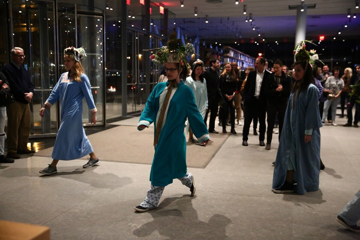 Performance of Sibyl Kempson, 12 Shouts to the Ten Forgotten Heavens, at the Whitney Museum of American Art, New York, Spring Equinox, 2016. Photo © Paula Court. Courtesy of the Whitney Museum of American Art, New York.