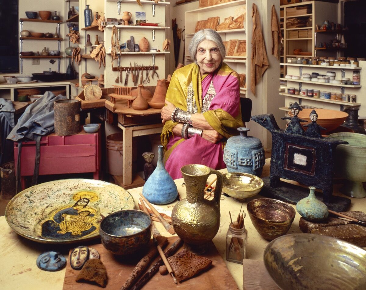 Portrait of Beatrice Wood in her Ojai studio, 1983, from the Jim McHugh Artist Archives.