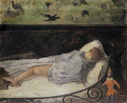 Paul Gauguin, The Little One Is Dreaming, Étude, 1881. Image via Wikimedia Commons.