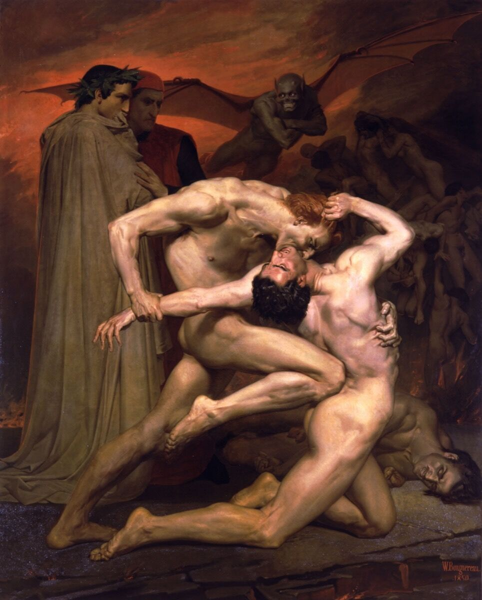William-Adolphe Bouguereau, Dante and Virgil , 1850. Photo via Wikimedia Commons.