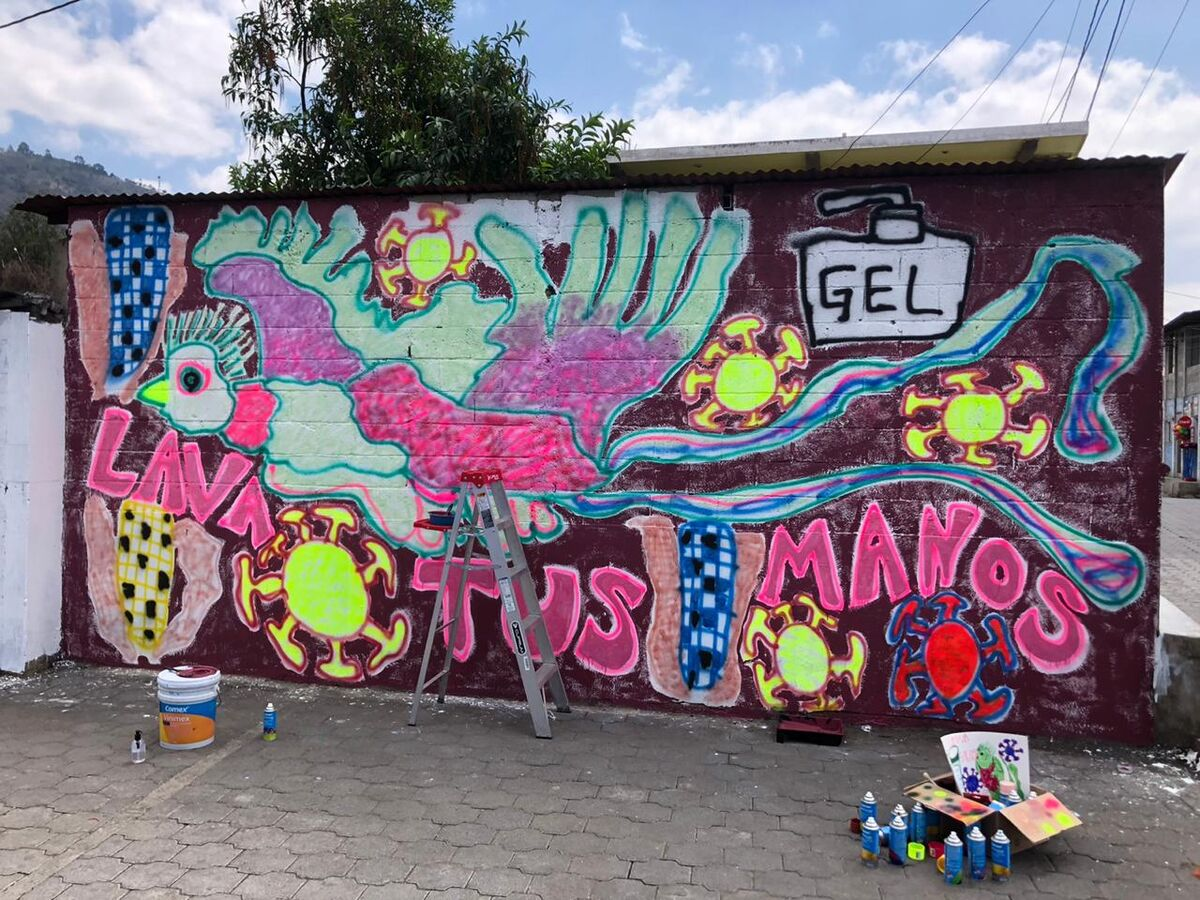 Katherine Bernhardt's new public mural painted in Guatemala, 2020. Courtesy of the artist.