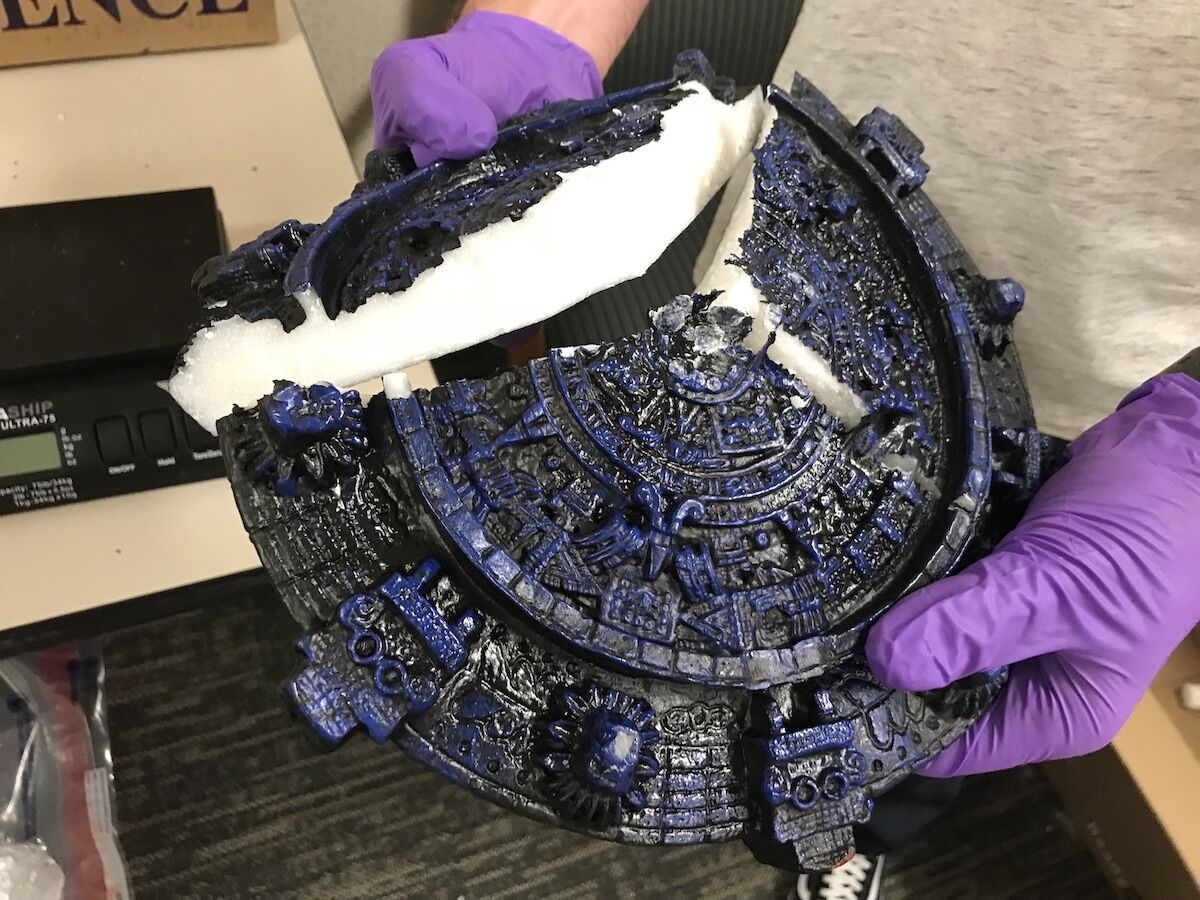 Methamphetamine disguised as an Aztec artifact. Courtesy the U.S. Attorney's Office.