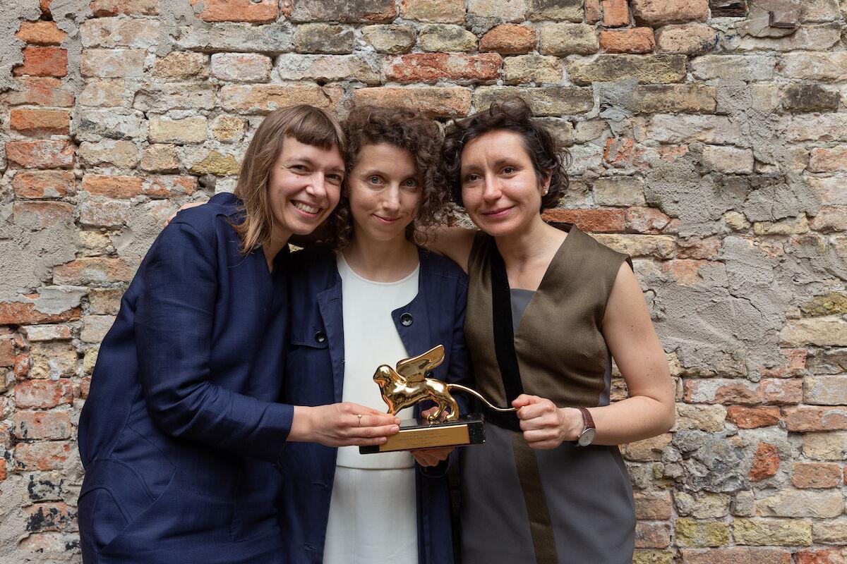 Lithuania Pavilion artists Lina Lapelyte, Rugile Barzdziukaite, and Vaiva Grinyte. Photo © Andrej Vasilenko.