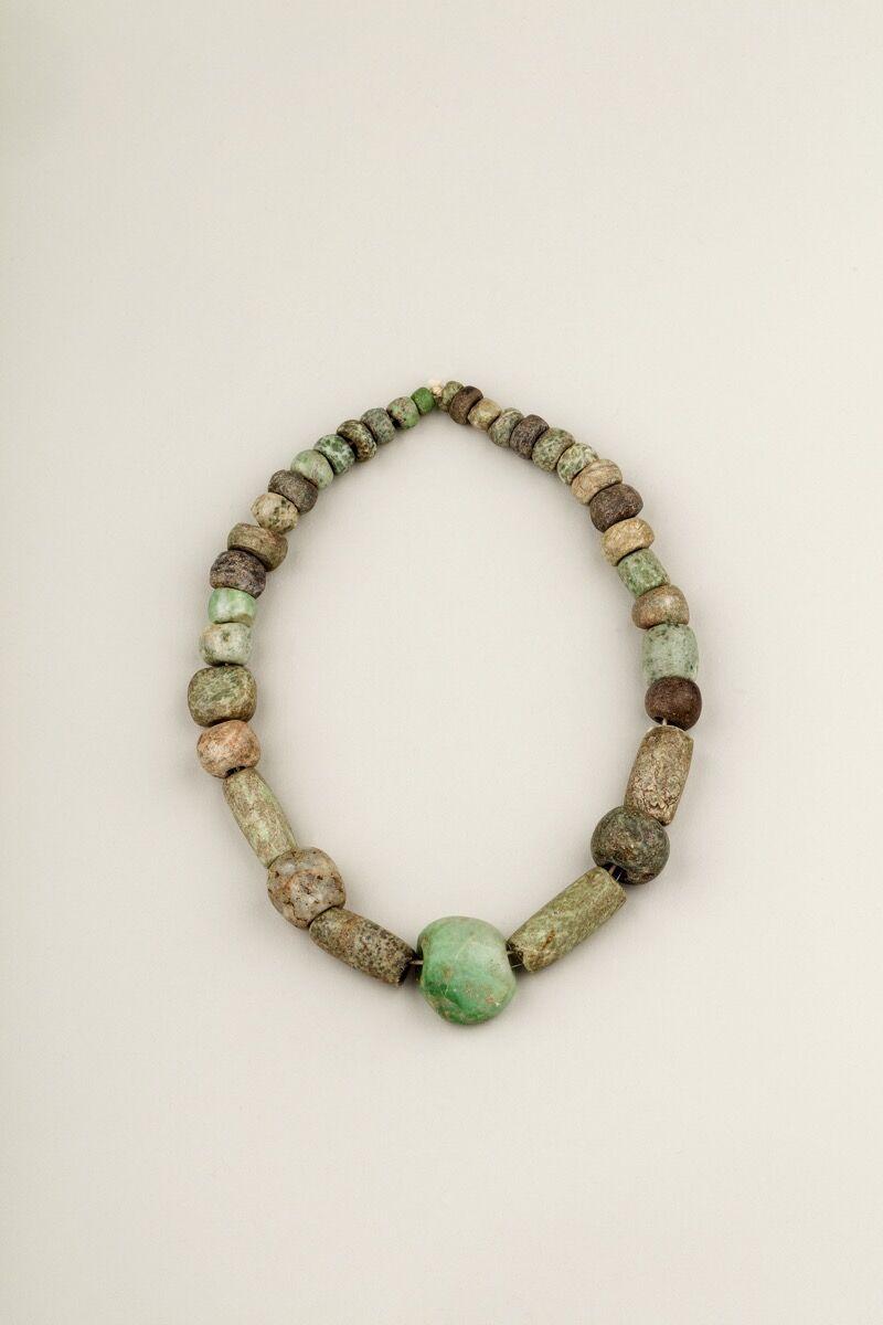 "Frida Kahlo's pre-Columbian jade beads. Courtesy of the Victoria & Albert Museum, ""Frida Kahlo: Making Her Self Up,"" 16 June – 14 November 2018. Sponsored by Grosvenor Britain & Ireland."
