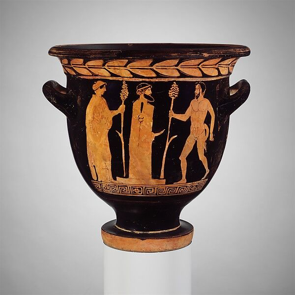 Attributed to the Pisticci Painter, Terracotta bell-krater (mixing bowl), ca. 430–410 B.C. Courtesy of The Metropolitan Museum of Art.