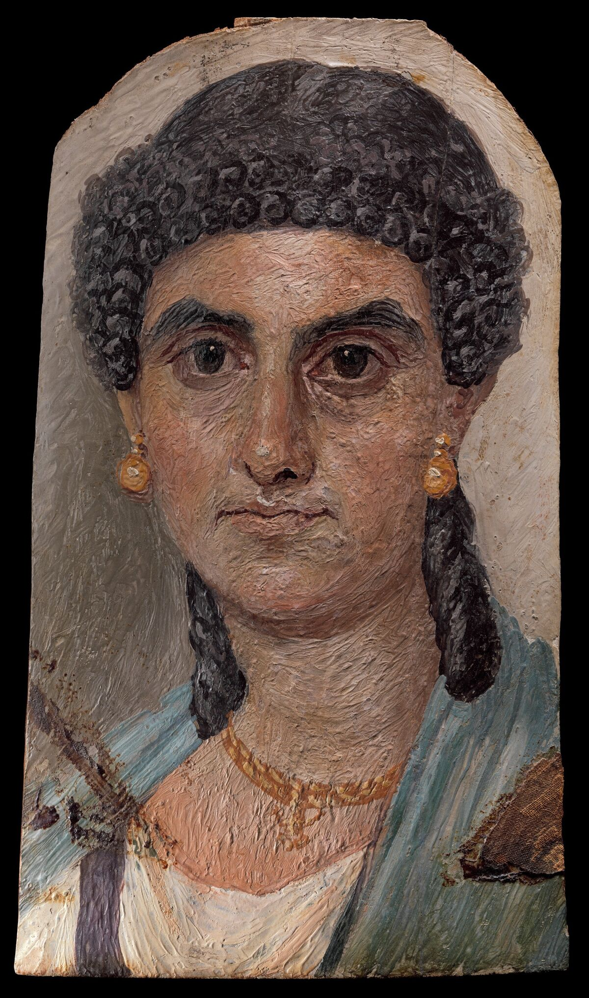 Panel painting of a woman in a blue mantle, 54–68. C.E. Courtesy of The Metropolitan Museum of Art.