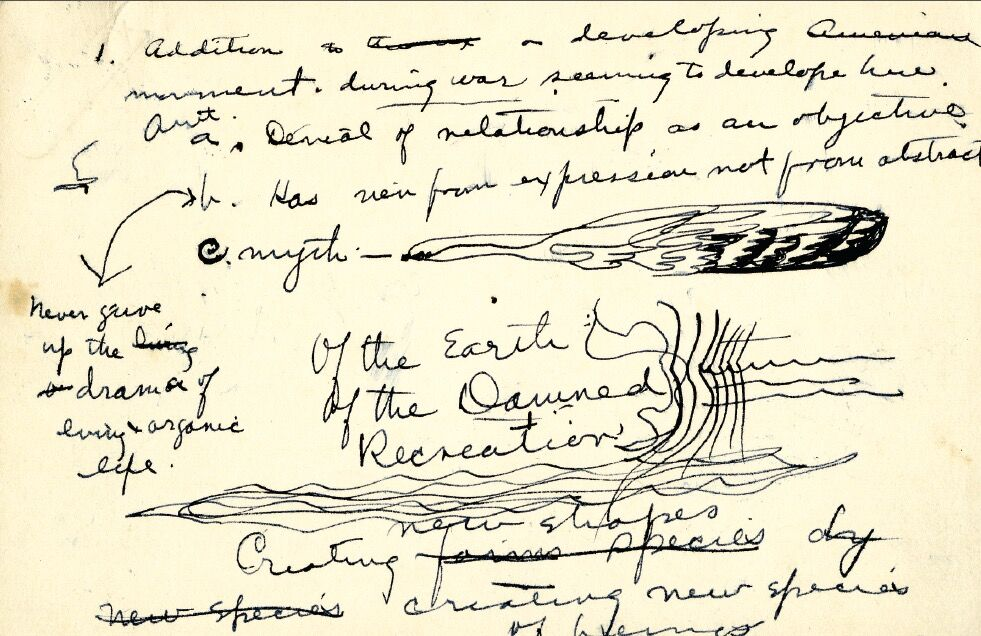 Detail from Mark Rothko manuscript for the gallery guide to Clyfford Still's solo exhibition at Art of this Century Gallery in 1946. Image courtesy of the Clyfford Still Museum Archives.