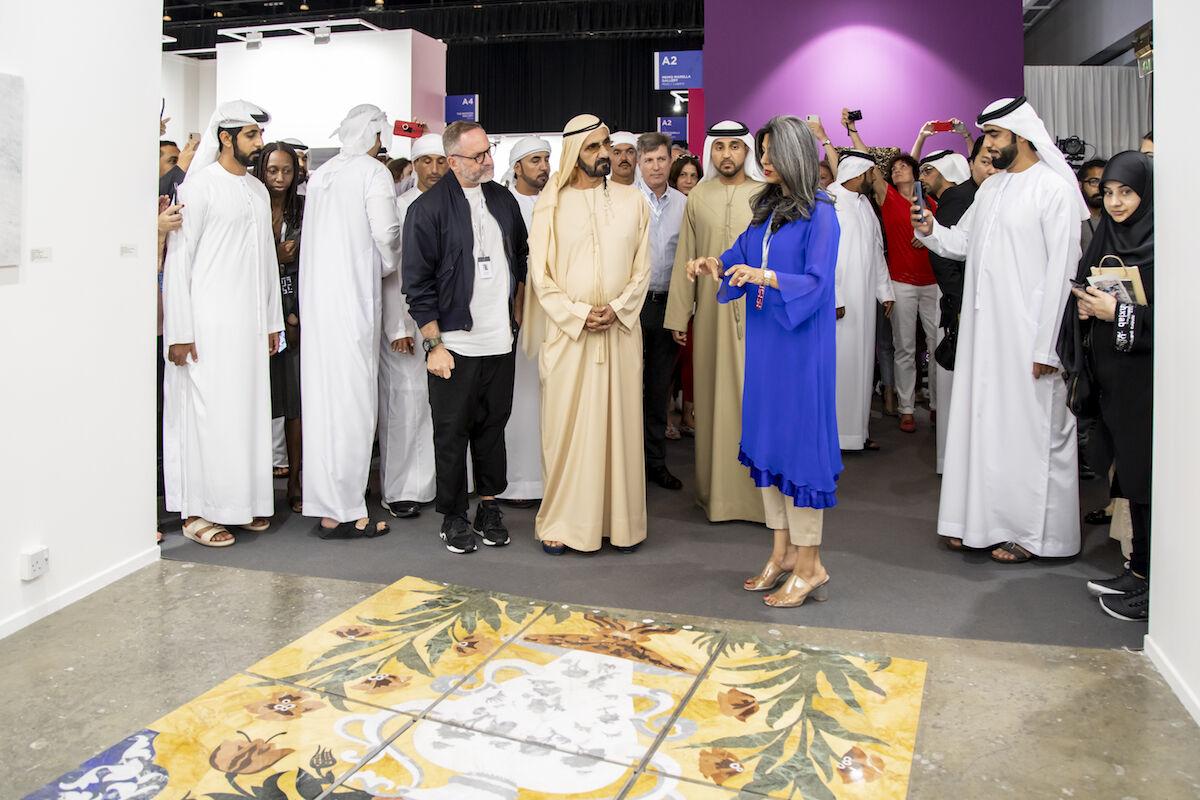 His Highness Sheikh Mohammed bin Rashid Al Maktoum, the vice president and prime minister of the United Arab Emirates and the ruler of Dubai, visits the 2019 edition of Art Dubai. Photo courtesy Art Dubai.