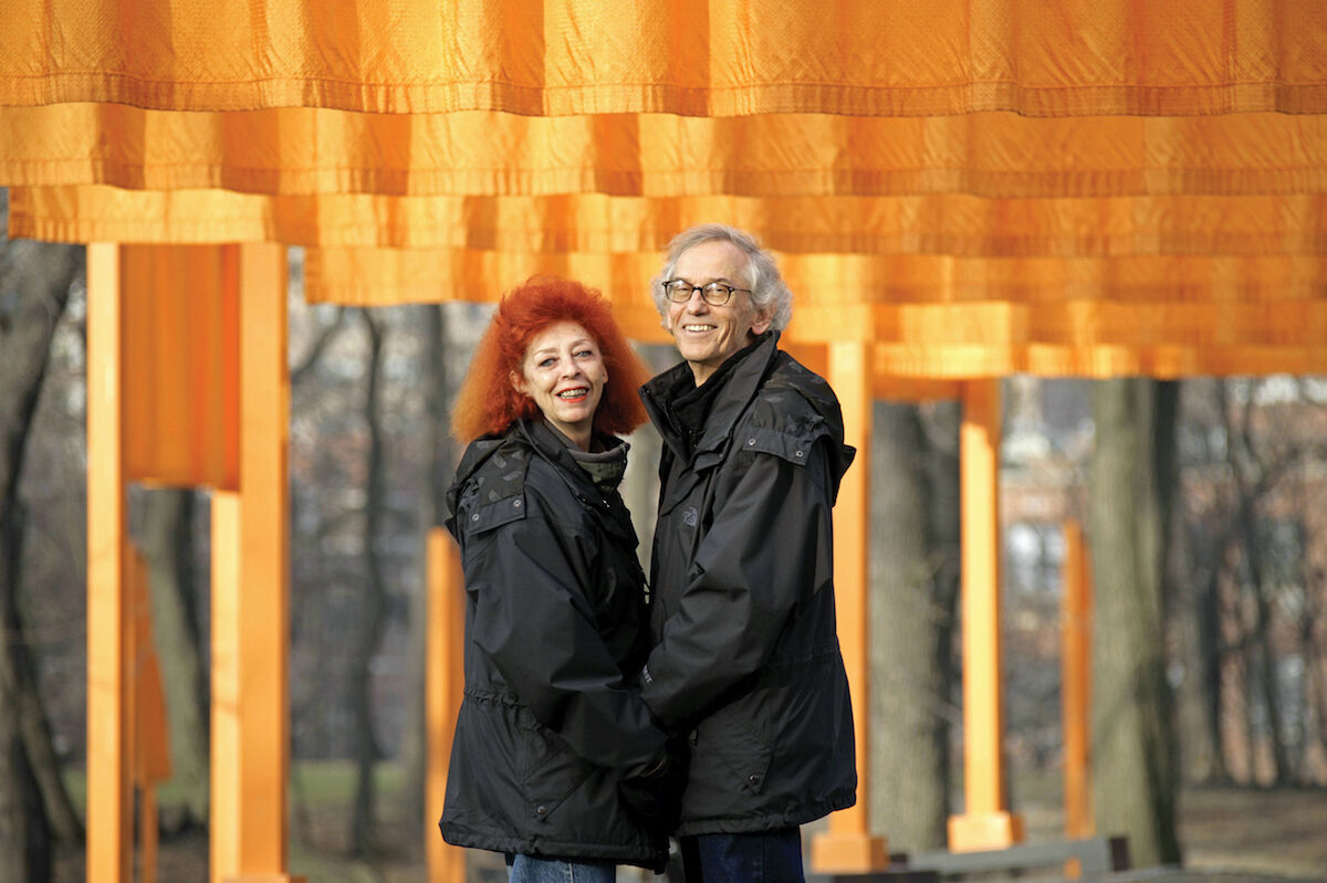 Christo and Jeanne-Claude at The Gates, February 2005. Photo by Wolfgang Volz. Courtesy and © the artists.
