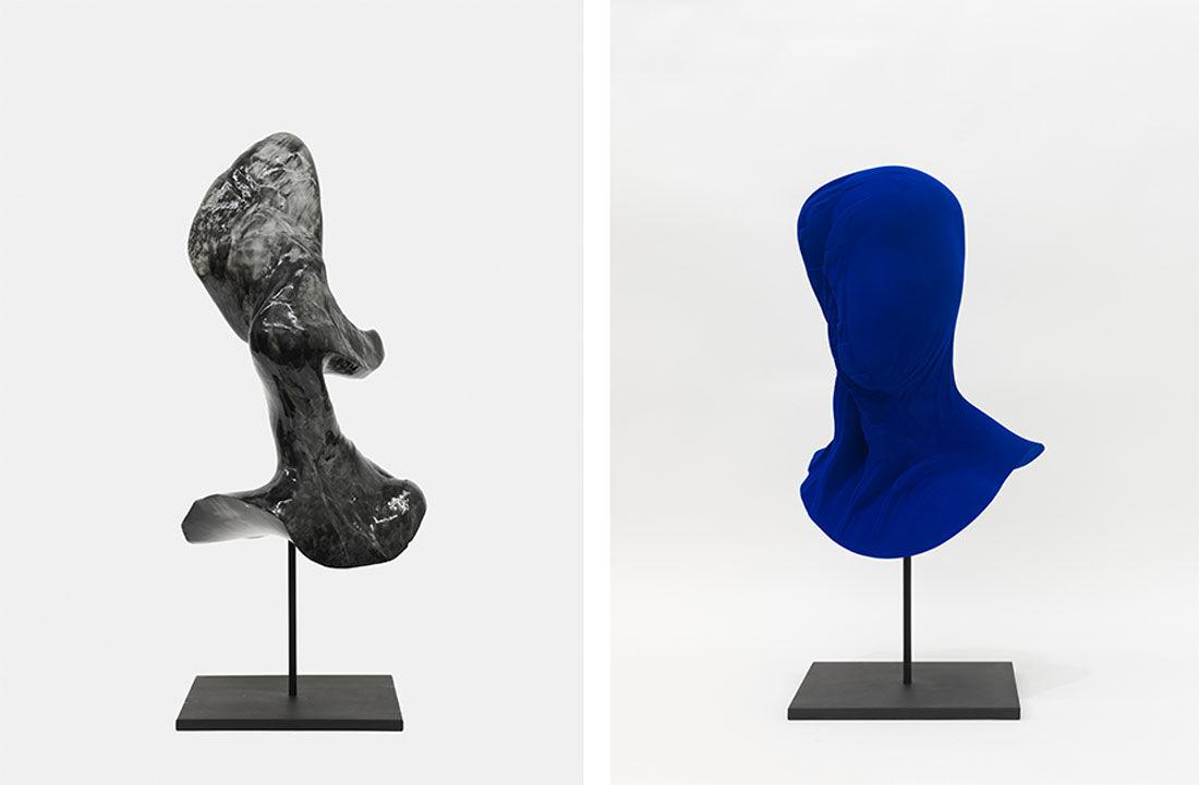 Jon Rafman, New Age Demanded (Crescentman Graphite), 2014 andNew Age Demanded (Stratform Yves Klein Blue), 2014. Images courtesy ofMesler Feuer.