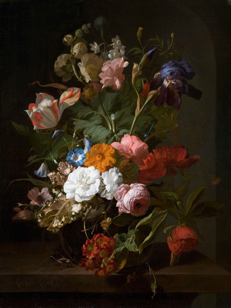 Rachel Ruysch, Vase with Flowers, 1700. Image via Wikimedia Commons.