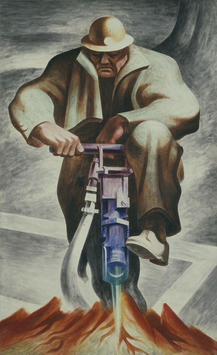 Harold Lehman, The Driller (mural, Rikers Island, Nueva York), 1937. © Estate of Harold Lehman.  Imagen © Smithsonian American Art Museum, Washington, DC / Art Resource, NY.  Cortesía del Museo Whitney de Arte Americano.