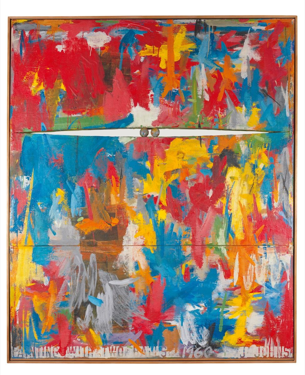 Jasper Johns, Painting with Two Balls, 1960. © Jasper Johns / Licensed by VAGA at Artists Rights Society (ARS), New York.