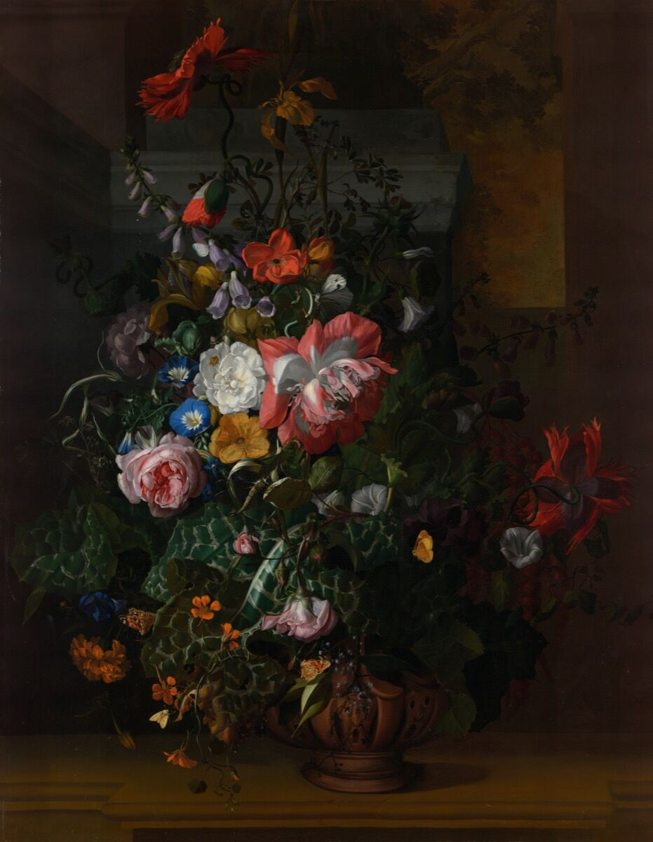 Rachel Ruysch, Roses, Convolvulus, Poppies, and Other Flowers in an Urn on a Stone Ledge, 1680s. Image via Wikimedia Commons.