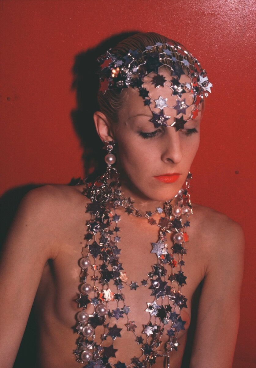 Nan Goldin, Greer modeling jewelry, NYC, 1985. Courtesy of the artist and Marian Goodman Gallery New York, Paris, and London.