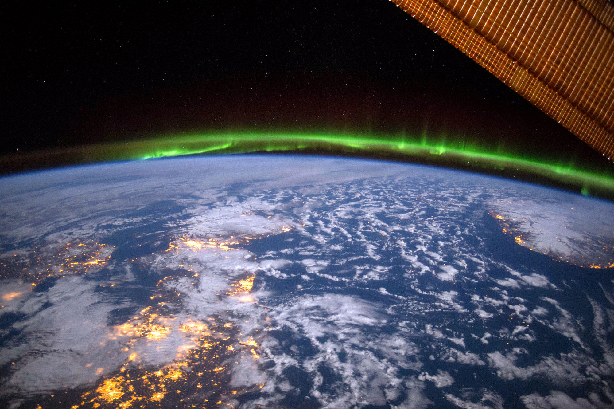 The aurora borealis over the U.K. Photo by Terry Virts from the book  View from Above,  published by National Geographic, 2017. Courtesy of Terry Virts and National Geographic.