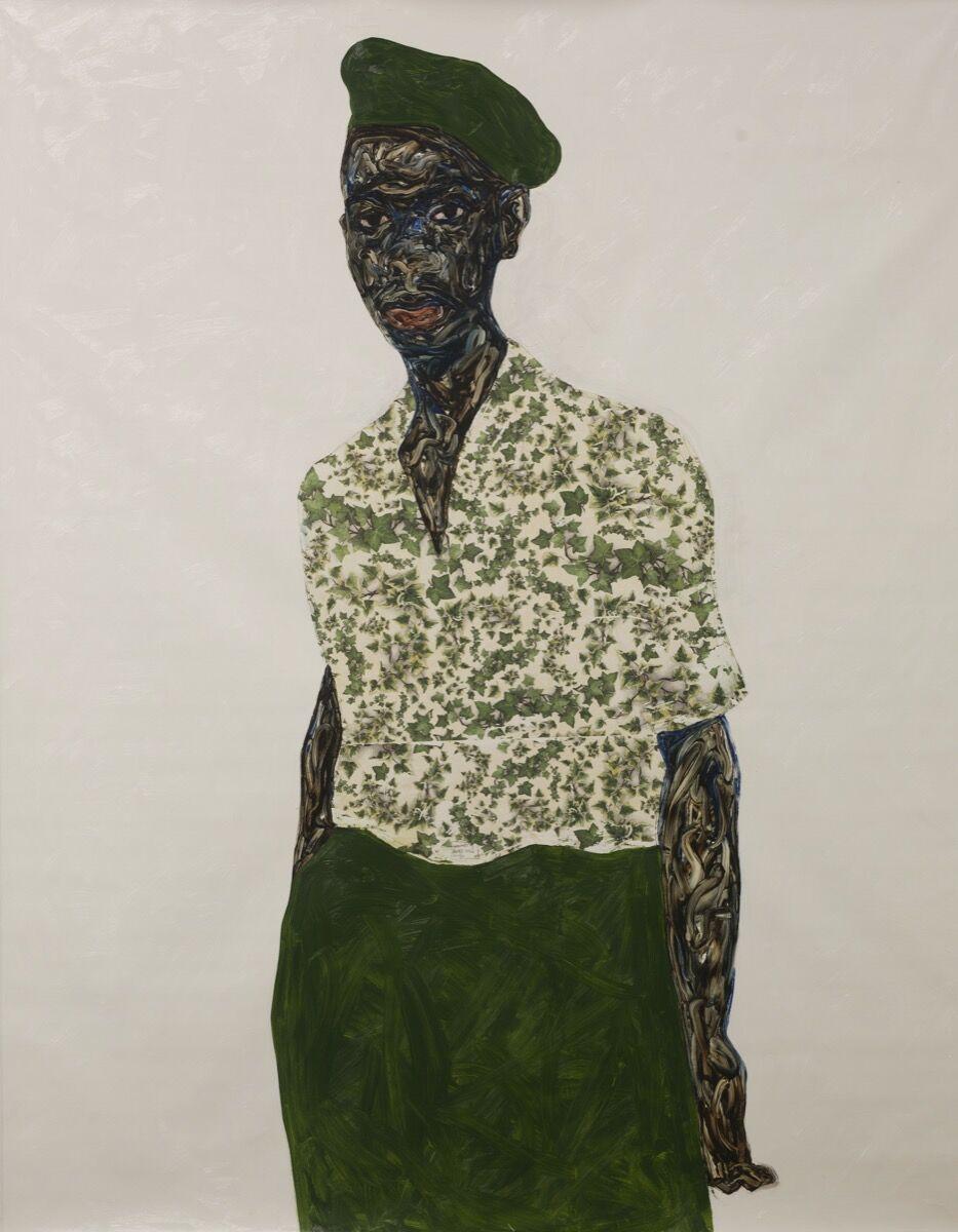 Amoako Boafo, Green Beret, 2020. Courtesy of the artist and Mariane Ibrahim.