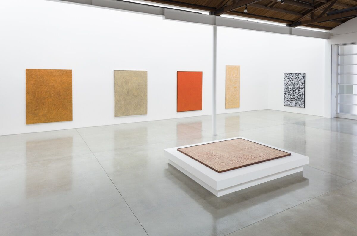 """Installation view of """"Desert Painters of Australia Part II,"""" at Gagosian, Beverly Hills, 2019. Artworks © Artists and Estates. Photo by Fredrik Nilsen. Courtesy of Gagosian."""