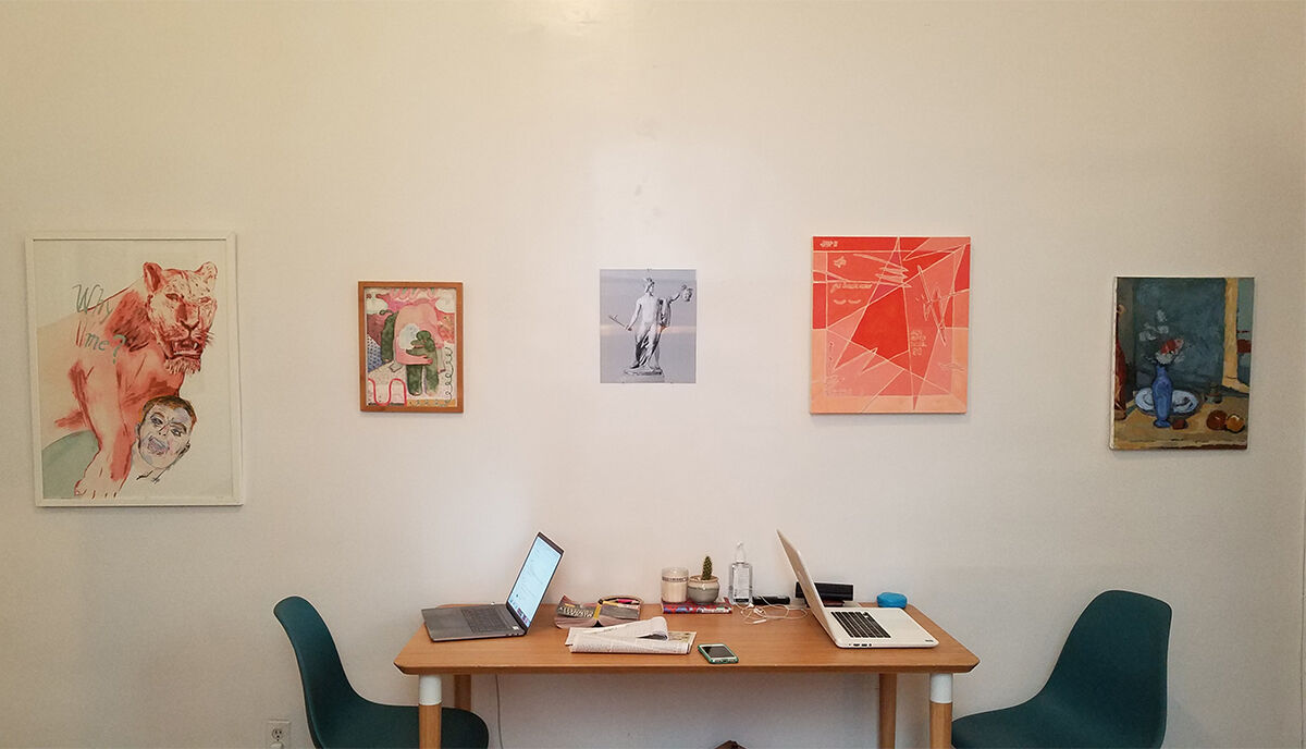 The living room of Teen Party, featuring works by Leon Golub, Sophie Lorrimore, Aura Rosenberg, Margaux Ogden, and Peter Indrisek after a Cezanne painting. Photo by Scott Indrisek. Courtesy of Teen Party.