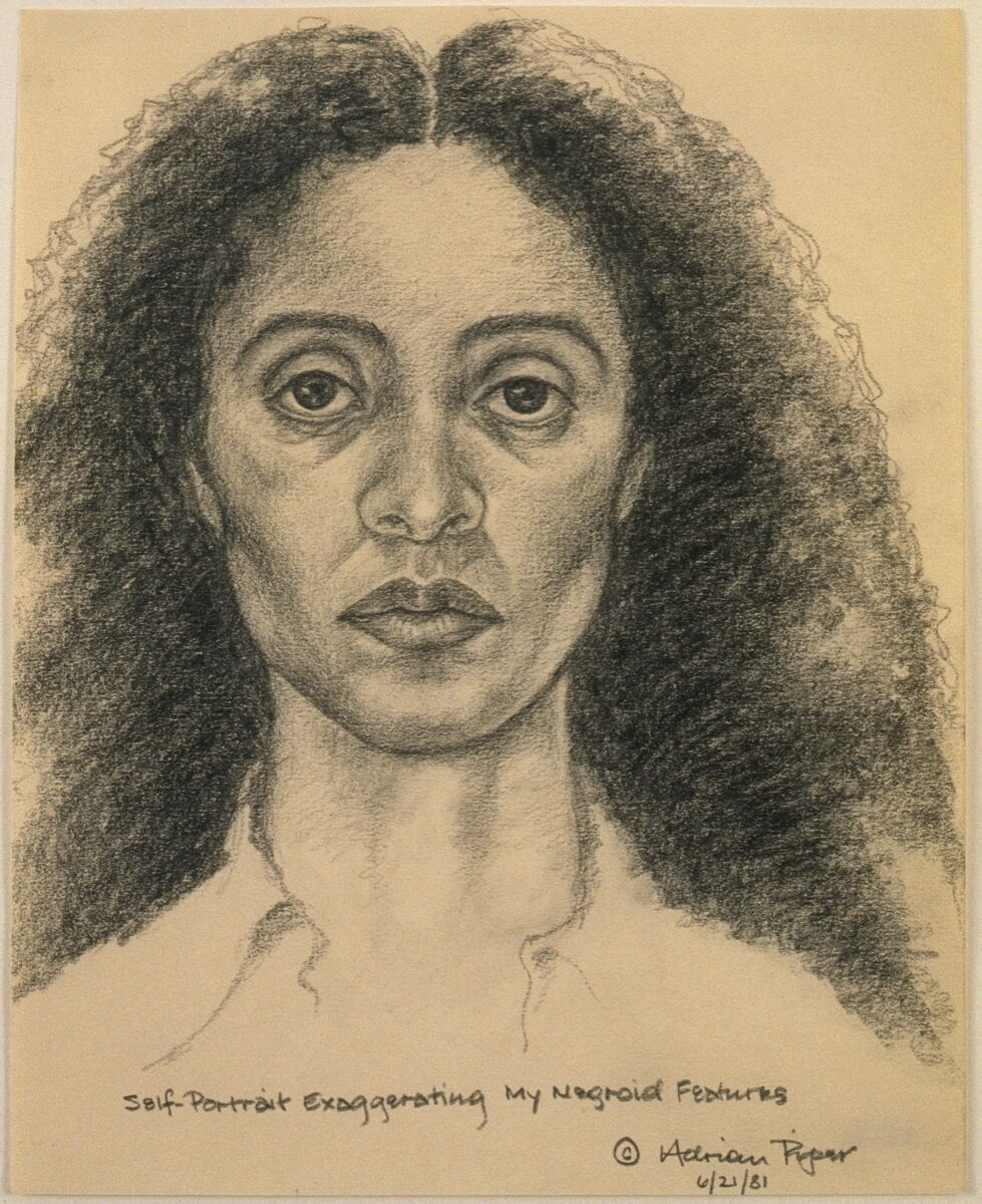 Adrian Piper, Self-Portrait Exaggerating My Negroid Features, 1981. © Adrian Piper Research Archive Foundation Berlin. Courtesy of the Museum of Modern Art.