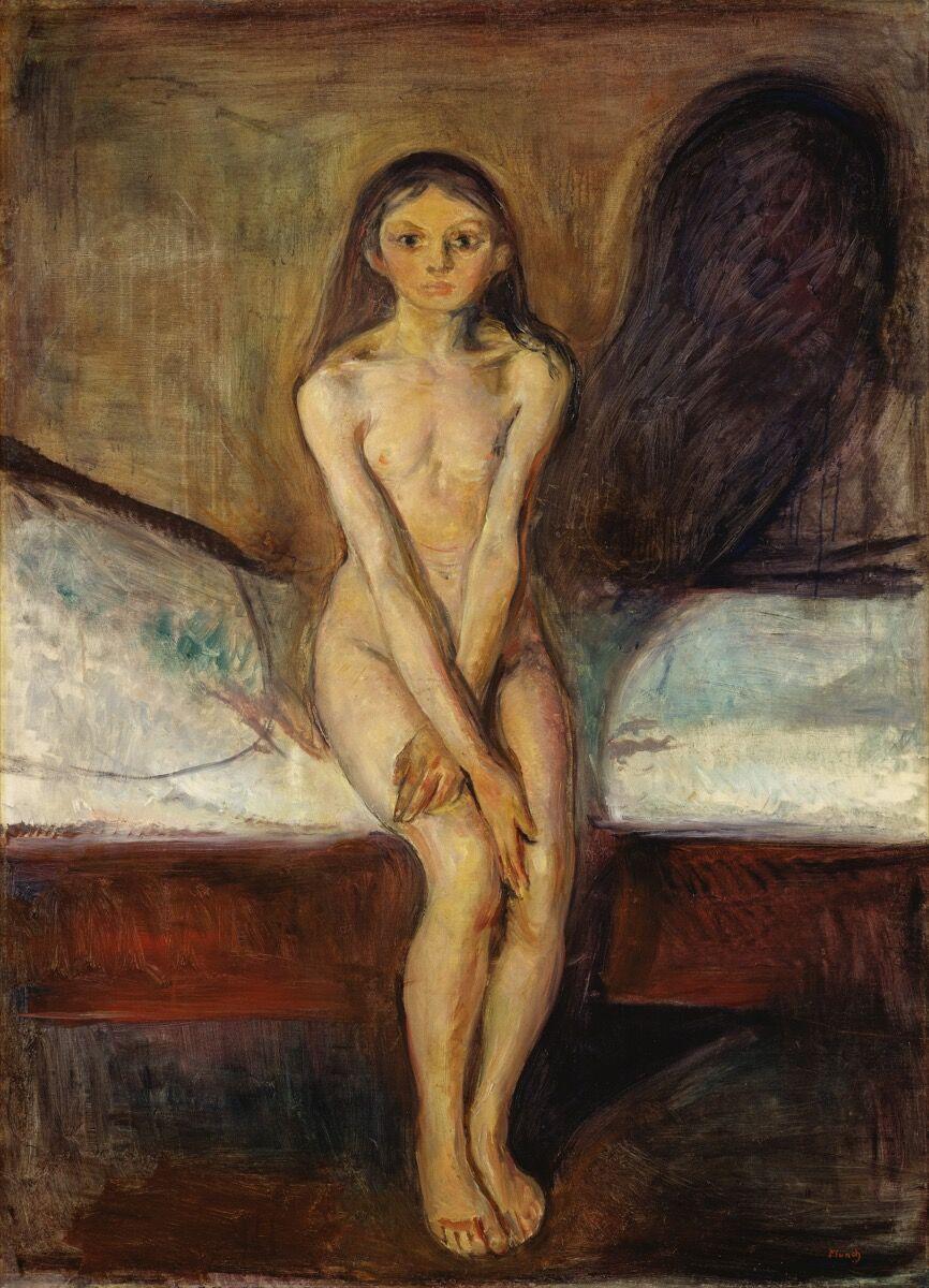 Edvard Munch, Puberty, 1884–85. Via Wikimedia Commons.