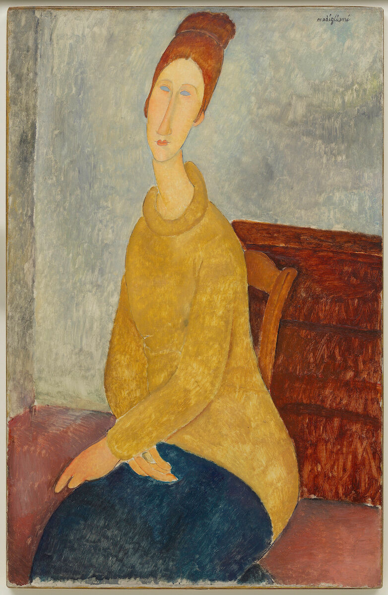 Amedeo Modigliani, Jeanne Hébuterne with Yellow Sweater, 1918-19. Solomon R. Guggenheim Museum, By gift 37.533. Image provided by Solomon R. Guggenheim Foundation/Art Resource, New York. Courtesy of the Jewish Museum.