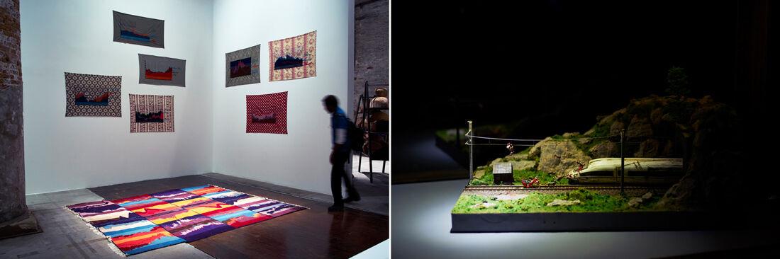 Work by Maja Bajevic; Cao Fei. Photos by Alex John Beck for Artsy.