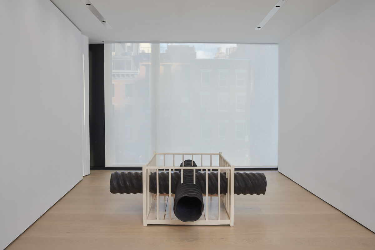 """Installation view of Robert Gober, X Pipe Playpen, for """"Maybe Maybe Not: Christopher Wool and the Hill Collection,"""" at the Hill Art Foundation. © Robert Gober. Photo by Matthew Herrmann. © Hill Art Foundation."""