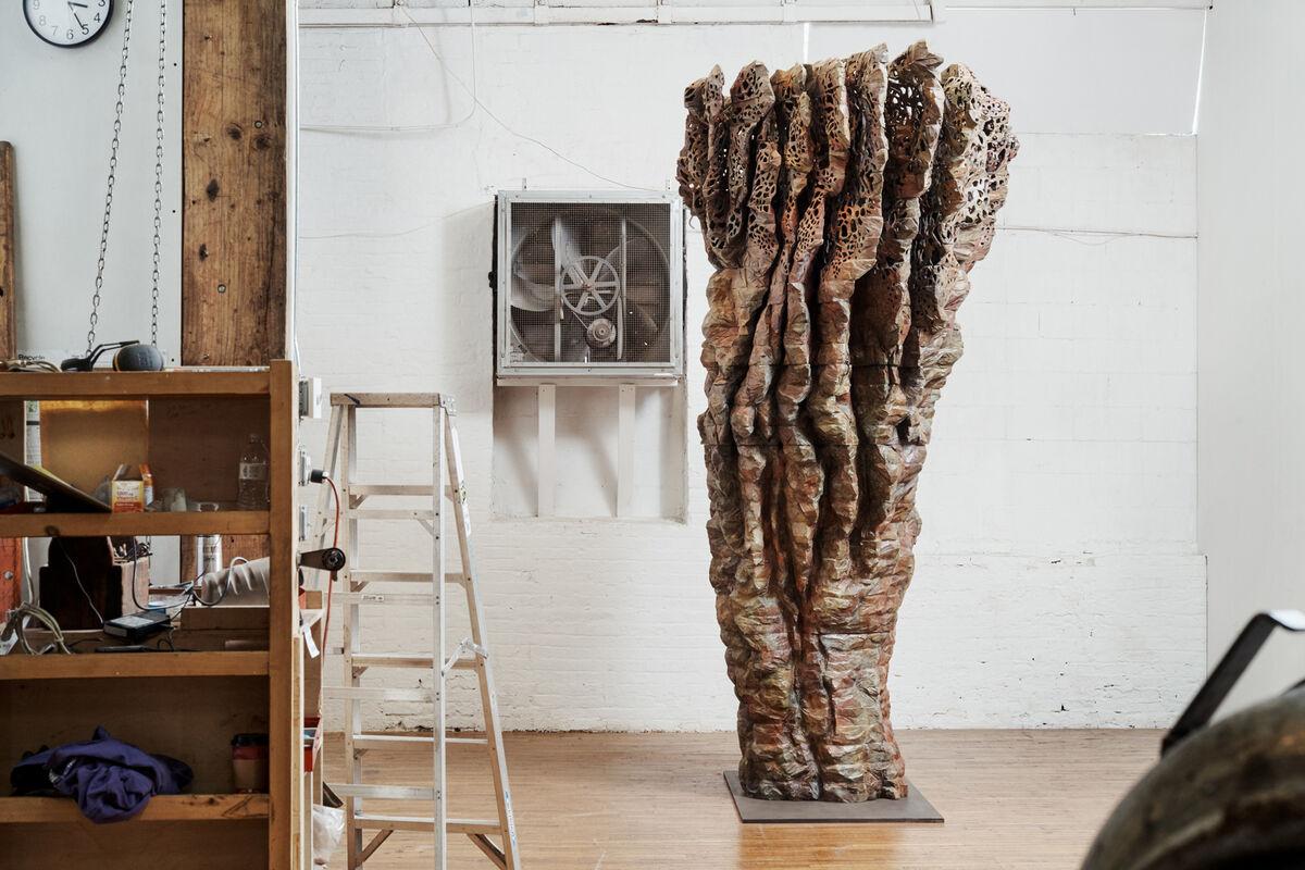 View of Ursula von Rydingsvard's Bushwick studio, featuring Z BOKU, 2017. Photo by Alex John Beck for Artsy.
