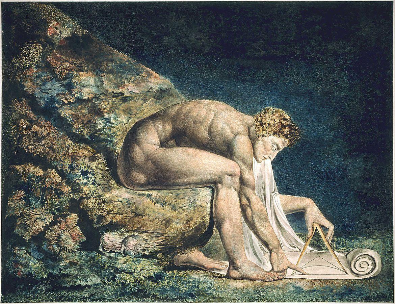 William Blake,Newton, 1795-1805. Collection of Tate Britain. Image via Wikimedia Commons.