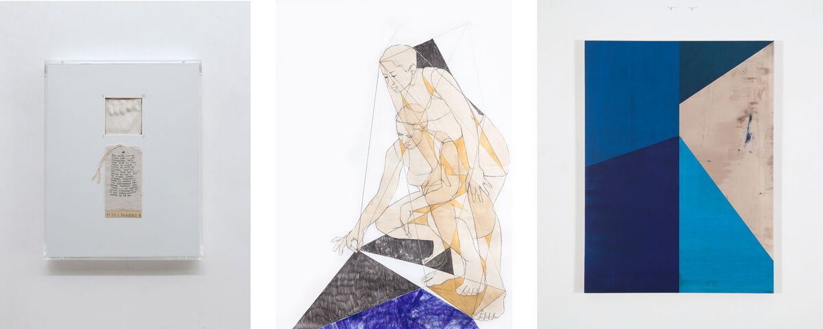 Left to right: Mary Kelly, preparation for Post-Partum Document (1973–79). Image courtesy of Pippy Houldsworth; Pamela Phatsimo Sunstrum, Panthea 02, 2016. Courtesy of the artist and Tiwani Contemporary; Gabriel de la Mora, MCI / 6 – II f e, 2015. © Gabriel de la Mora, courtesy Timothy Taylor.