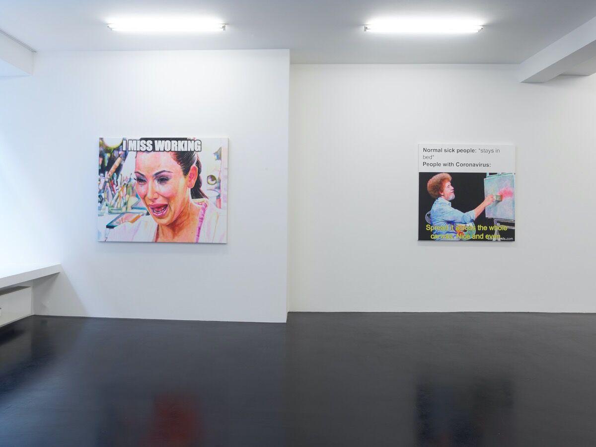 "Christine Wang, installation view of ""Coronavirus Memes"" at Galerie Nagel Draxler Köln, 2020. Courtesy of the artist and Galerie Nagel Draxler, Berlin/Köln/München."