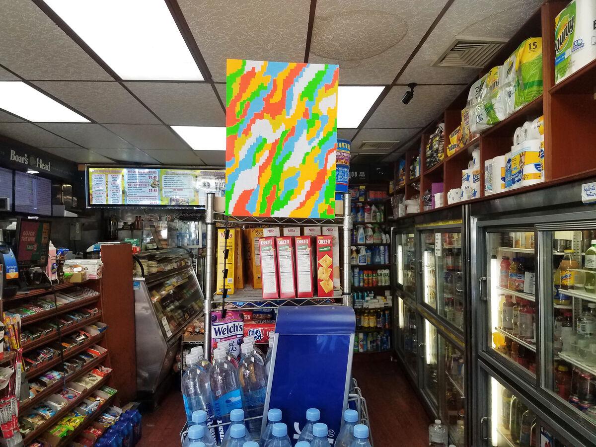 Installation view of Neil Hamamoto, fresh food market deli 2, 2018, at Fresh Food Market Deli & Grocery, 386 Canal St., New York, 2018.