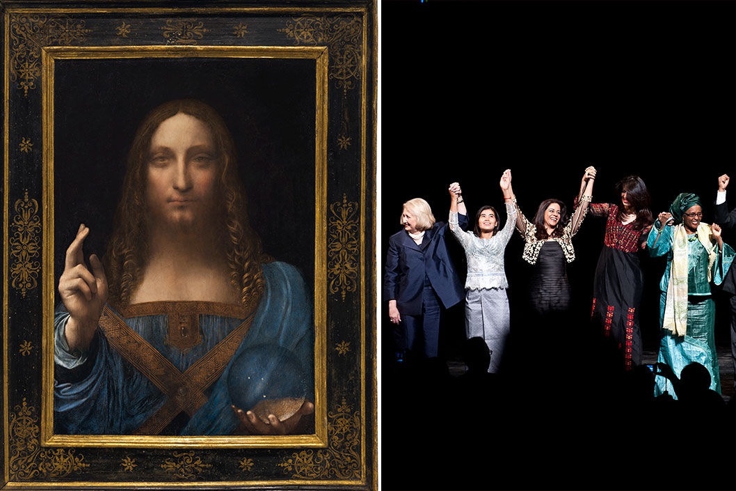 Left: Leonardo da Vinci's Salvator Mundi. Courtesy of Christie's. Right: Winners of the Vital Voices Global Awards. Melanne Verveer, pictured on the far left, is interviewed here. Photo by NICHOLAS KAMM/AFP/Getty Images.