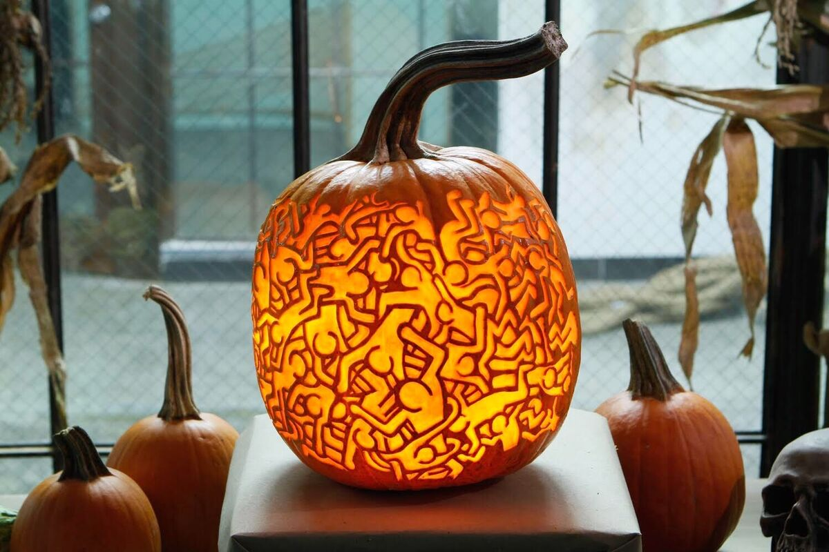 Pumpkin carving inspired by the artist Keith Haring. Courtesy of Maniac Pumpkins.