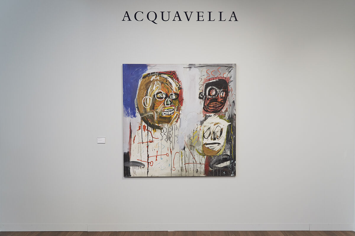 Installation view of Jean-Michel Basquiat, Three Delegates, 1982, at Acquavella's booth at Art Basel, 2017. Photo by Benjamin Westoby for Artsy.